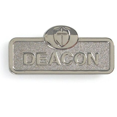 Silver Deacon Badge With Cross (Magnetic Back)