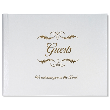 Guest Book, Small, White Bonded Leather