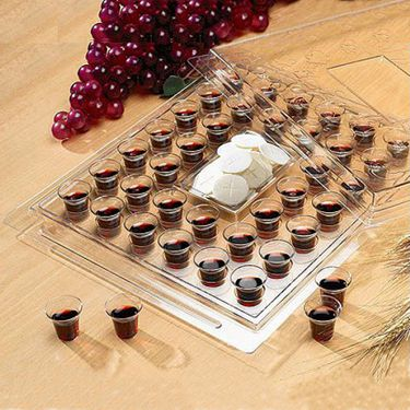 Clear Plastic, Stackable Communion Tray - With Cover